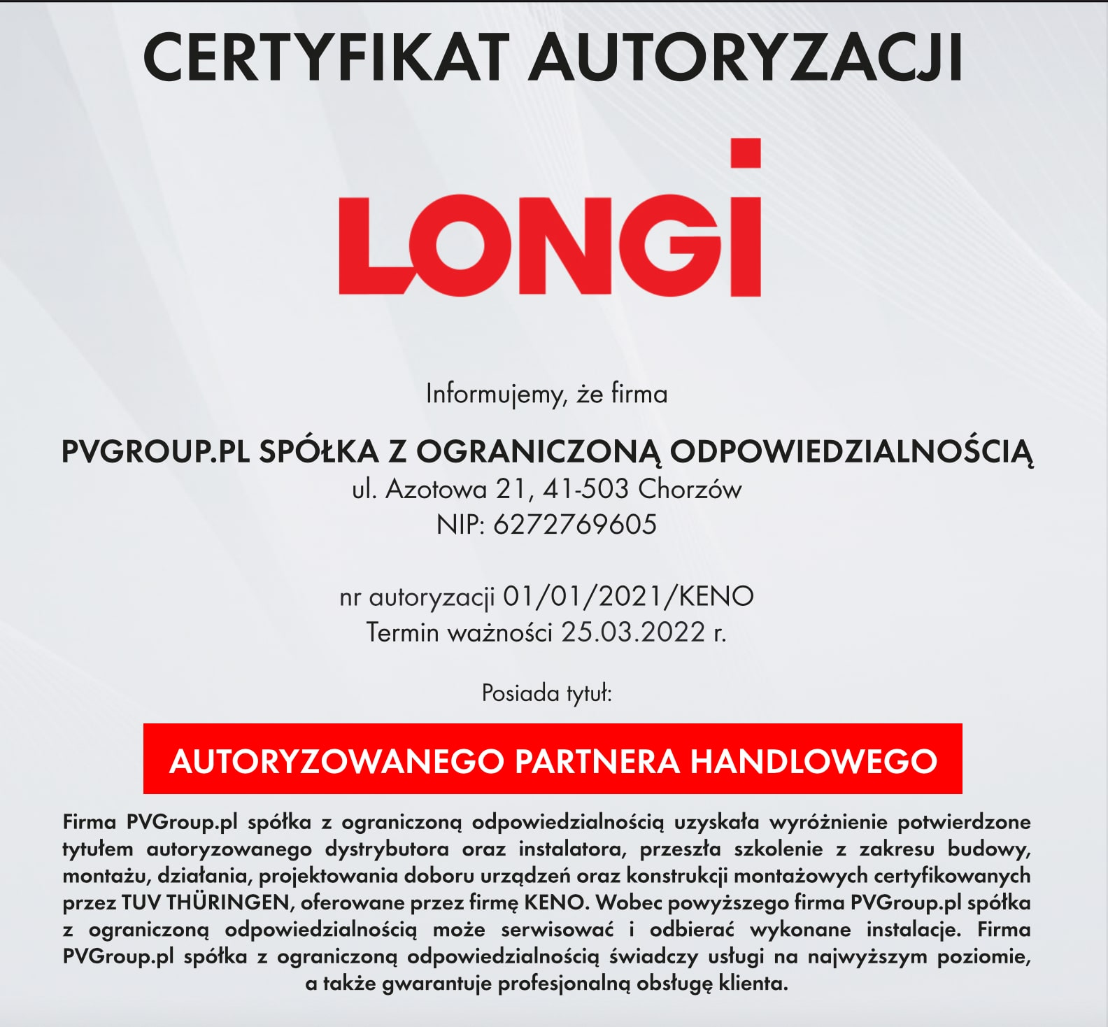 Certyfikat Longi dla PVGroup.pl